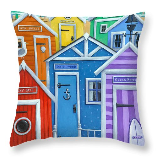 Peter Adderley Throw Pillow featuring the photograph Rainbow Beach Huts by MGL Meiklejohn Graphics Licensing