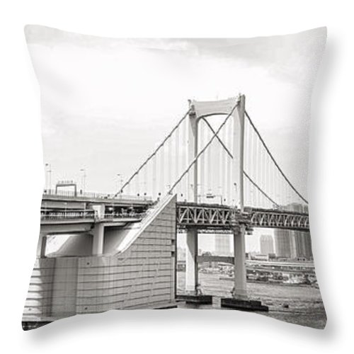 Rainbow Bridge Throw Pillow featuring the photograph Rainbow Bridge In Tokyo by For Ninety One Days