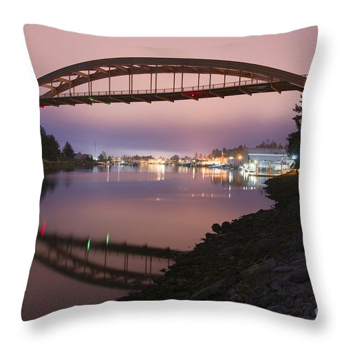 Rainbow Bridge Throw Pillow featuring the photograph Rainbow Bridge Laconner by Christopher Boswell