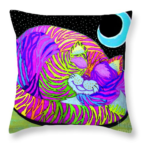 Cat Throw Pillow featuring the drawing Rainbow Cat Blue Moon by Nick Gustafson