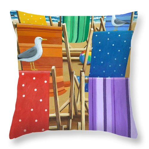 Peter Adderley Throw Pillow featuring the photograph Rainbow Deckchairs by MGL Meiklejohn Graphics Licensing