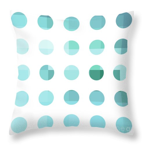 Abstract Throw Pillow featuring the painting Rainbow Dots Aqua by Pixel Chimp