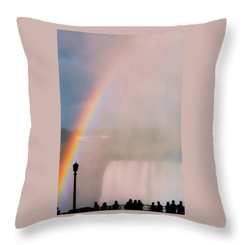 Rainbow Throw Pillow featuring the photograph Rainbow Falls by Pharris Art