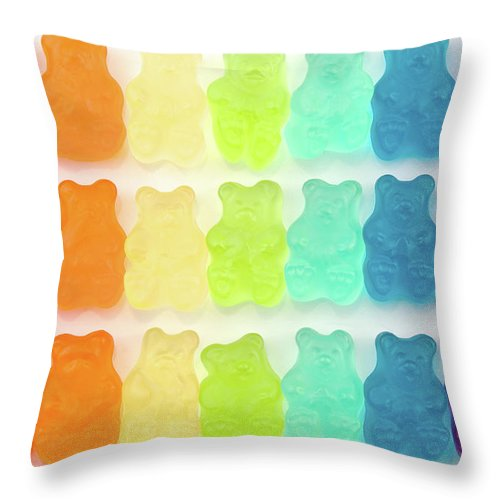 Order Throw Pillow featuring the photograph Rainbow Jelly Bear Candy by Melissa Ross