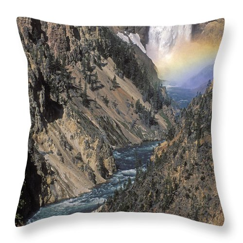 Yellowstone;waterfall; Throw Pillow featuring the photograph Rainbow On The Lower Falls by Sandra Bronstein