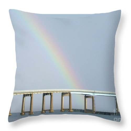 Rainbow Throw Pillow featuring the photograph Rainbow On Top Of The Bridge by Michelle Powell