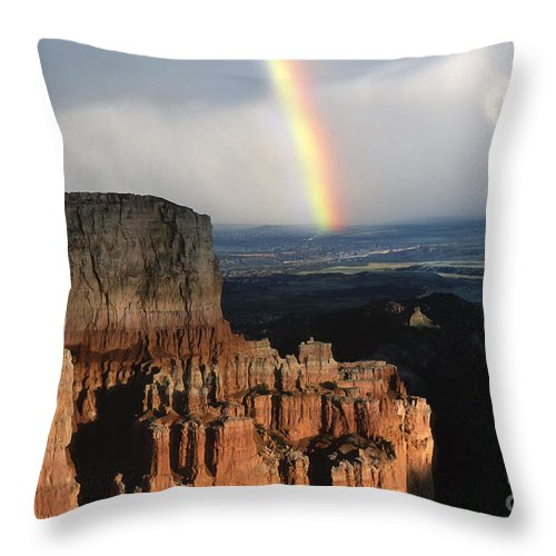 Southwest Throw Pillow featuring the photograph Rainbow Over Bryce Canyon by Sandra Bronstein
