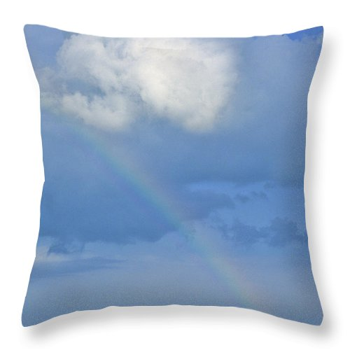 Rainbow Throw Pillow featuring the photograph Rainbow Over Cobscook Bay by Alana Ranney