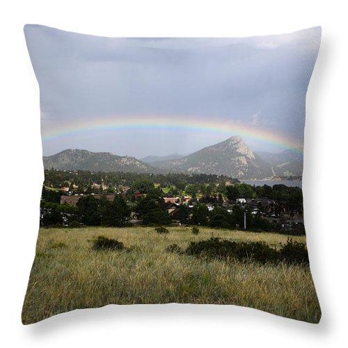 Estes Park Throw Pillow featuring the photograph Rainbow Over Lake Estes by Shane Bechler