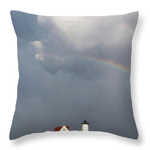 Rainbow Throw Pillow featuring the photograph Rainbow Over Nubble Lighthouse York Beach Maine by Michael Saunders