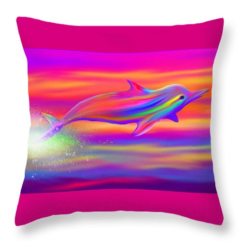 Dolphin Throw Pillow featuring the painting Rainbow Tide Dolphin by Nick Gustafson