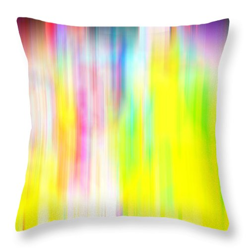 Abstract Throw Pillow featuring the digital art Rainbow Unleashed by Prakash Ghai