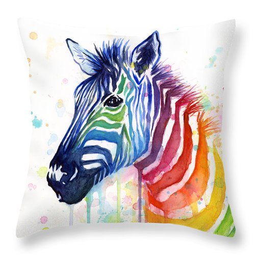 Rainbow Throw Pillow featuring the painting Rainbow Zebra - Ode to Fruit Stripes by Olga Shvartsur