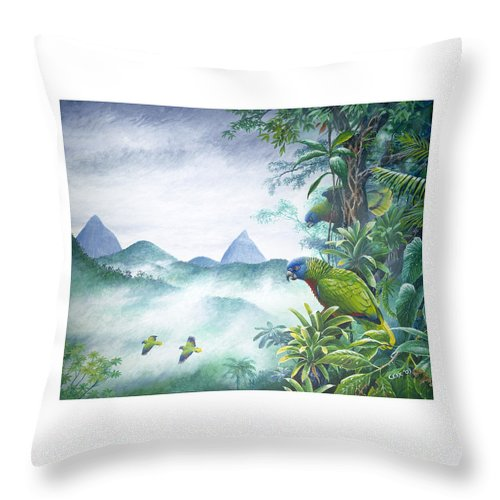 Chris Cox Throw Pillow featuring the painting Rainforest Realm - St. Lucia Parrots by Christopher Cox