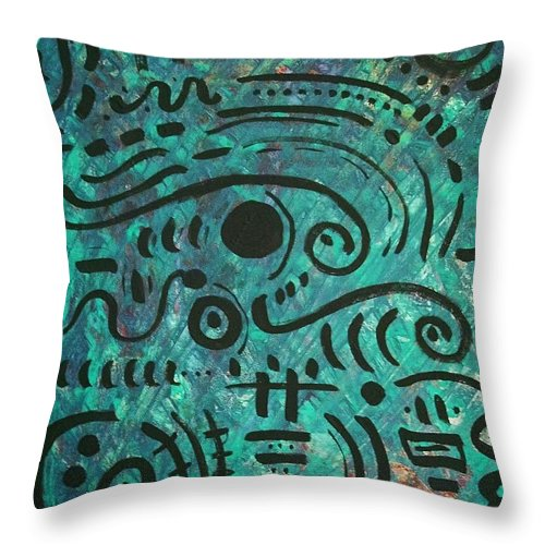 Abstract Throw Pillow featuring the painting Rainforest by Venus