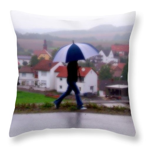 Digital Art Throw Pillow featuring the photograph Rainy Day In Sembach by Bob and Kathy Frank