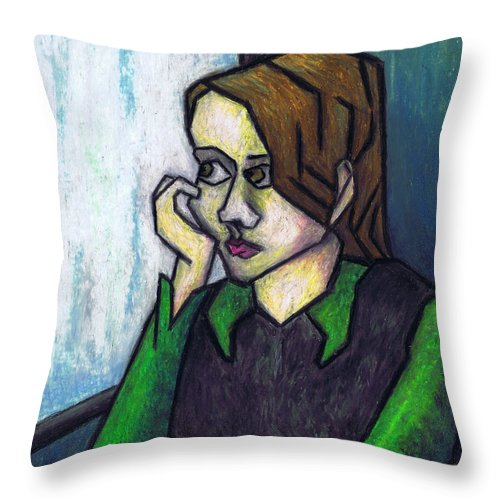 Rainy Day Throw Pillow featuring the painting Rainy Day by Kamil Swiatek