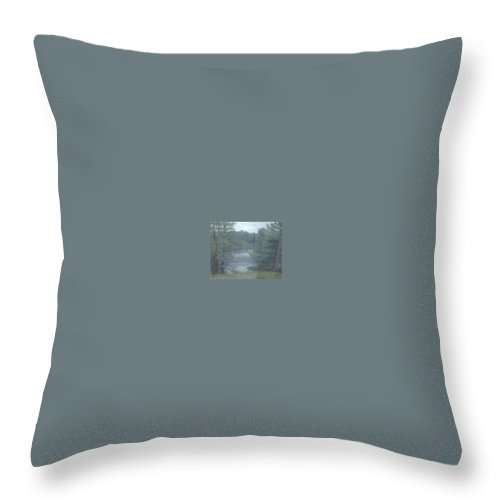 Rainy Throw Pillow featuring the painting Rainy Day Plein Aire by Sheila Mashaw