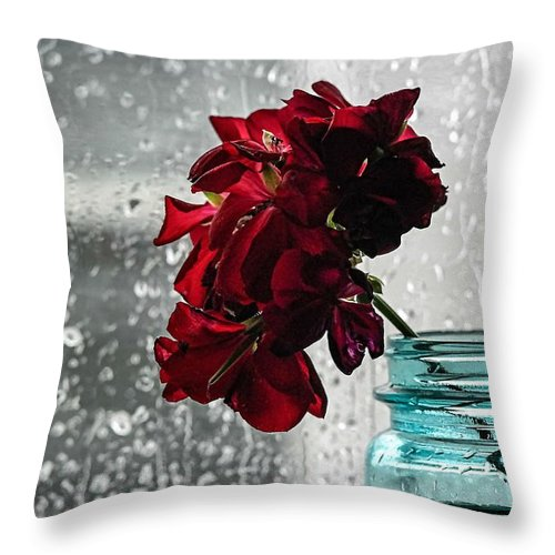 Flowers Throw Pillow featuring the photograph Rainy Day by Tammy Lee Bradley