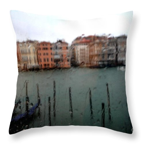 Palazzo Grassi Throw Pillow featuring the photograph Rainy Day View From Palazzo Grassi by Jacqueline M Lewis