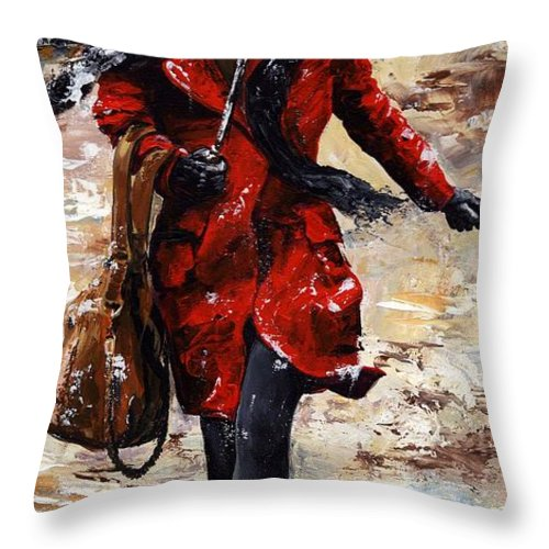 Rain Throw Pillow featuring the painting Rainy Day - Woman Of New York 10 by Emerico Imre Toth