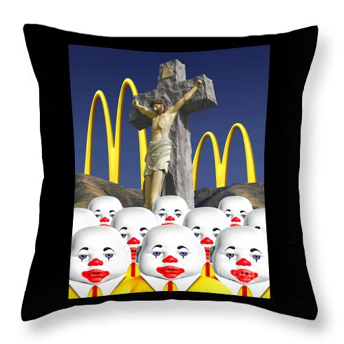 Christ Throw Pillow featuring the digital art Raising Them Right In The U S Of A by Keith Dillon