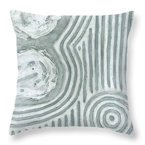 Japan Throw Pillow featuring the painting Raked Zen Whirlpool by Carrie MaKenna