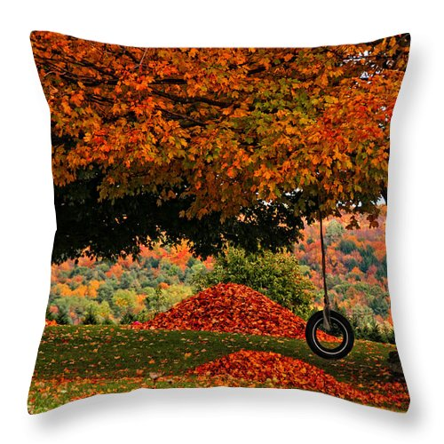 Fall Throw Pillow featuring the photograph Raking's All Done... by Mike Martin