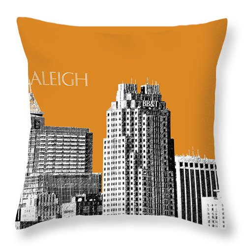 Architecture Throw Pillow featuring the digital art Raleigh Skyline - Dark Orange by DB Artist