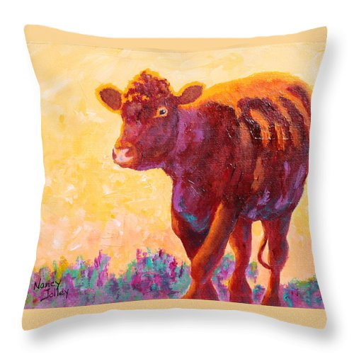 Steer Throw Pillow featuring the painting Ranch Hand by Nancy Jolley
