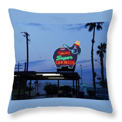Sunset Throw Pillow featuring the photograph Rancho Super Car Wash by Gerry High