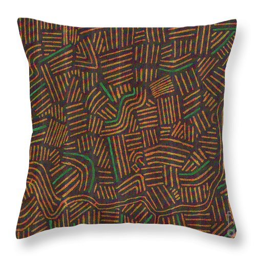 Random Lines Throw Pillow featuring the drawing Random Lines 5 by Andy Mercer