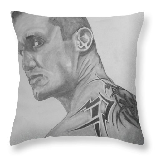 Justin Moore Throw Pillow featuring the drawing Randy Orton by Justin Moore