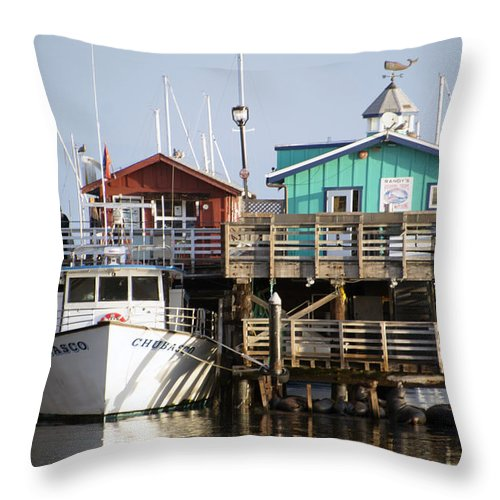 Barbara Snyder Throw Pillow featuring the digital art Randys Whale Watching And Fishing Trips by Barbara Snyder