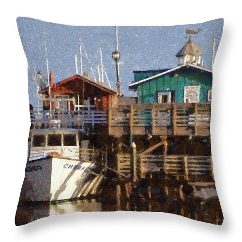 Barbara Snyder Throw Pillow featuring the digital art Randys Whale Watching And Fishing Trips Watercolor by Barbara Snyder