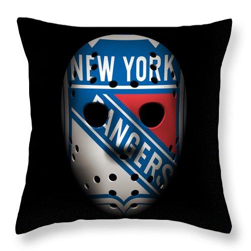 Rangers Throw Pillow featuring the photograph Rangers Goalie Mask by Joe Hamilton