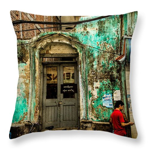 Door Throw Pillow featuring the photograph Rangoon's Colonial Remains by Joshua Van Lare
