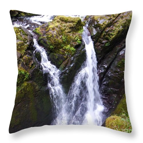 Waterfall And Rapid Throw Pillow featuring the photograph Rapid Waterfall by Josh Arnold