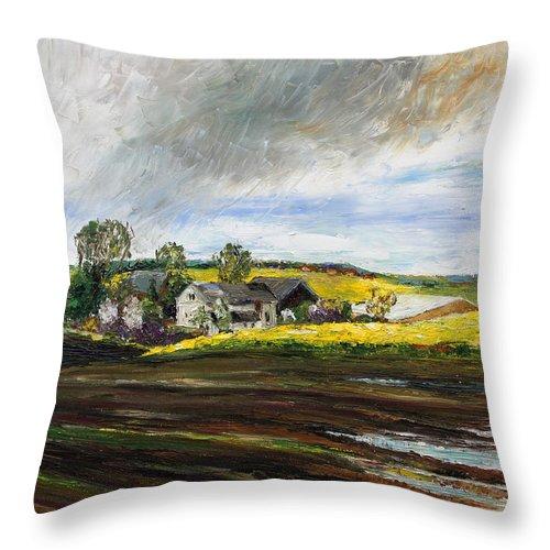 Barbara Pommerenke Throw Pillow featuring the painting Rape Fields Around Kastanienhof Bentwisch by Barbara Pommerenke
