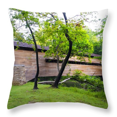 Rapps Throw Pillow featuring the photograph Rapps Covered Bridge Over French Creek by Bill Cannon