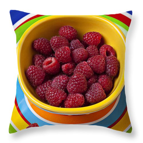 Raspberries Yellow Bowl Throw Pillow featuring the photograph Raspberries In Yellow Bowl On Plate by Garry Gay