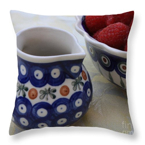 Raspberries Throw Pillow featuring the photograph Raspberries With Cream by Carol Groenen