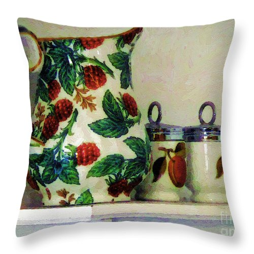 Pitcher Throw Pillow featuring the painting Raspberry Pitcher by RC DeWinter