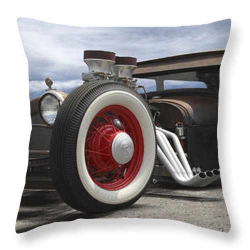 Transportation Throw Pillow featuring the photograph Rat Rod On Route 66 Panoramic by Mike McGlothlen