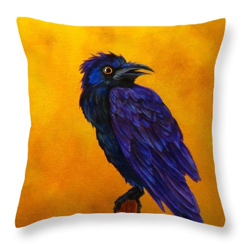 Raven Throw Pillow featuring the painting Raven by Carol Avants
