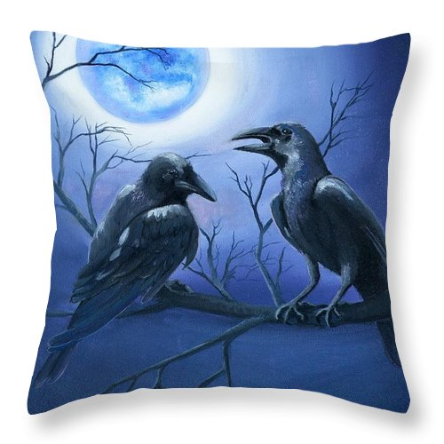 Ravens Throw Pillow featuring the painting Raven's Moon by Lora Duguay