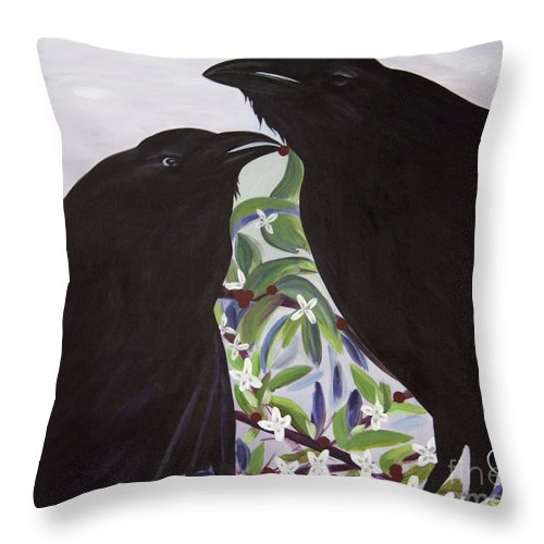 #raven Throw Pillow featuring the painting Ravens Song by Jacquelinemari