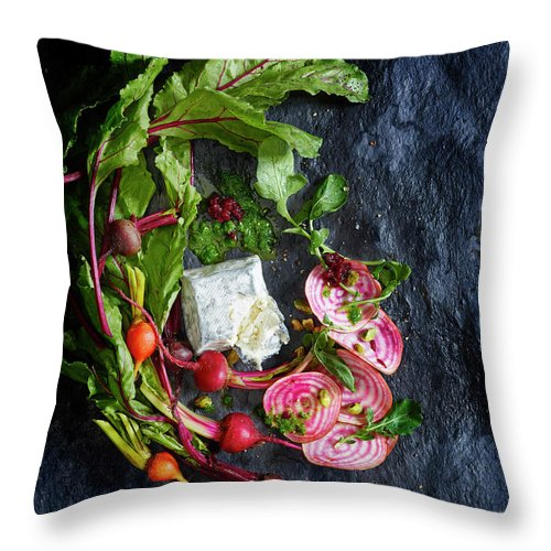 Cheese Throw Pillow featuring the photograph Raw Beeet Salad Ingredients by Annabelle Breakey