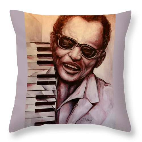 Original Fine Art By Lloyd Deberry Throw Pillow featuring the painting Ray The Print by Lloyd DeBerry