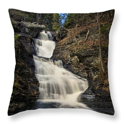 Raymondskill Falls Throw Pillow featuring the photograph Raymondskill Falls by Dave Sandt